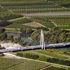 Giorgio Dalvit: Ripresa aerea nuovo ponte Zambana in confluenza Noce-Adige